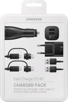 Samsung Charger Pack (Ladeadapt., KFZ-Dual-USB-Adapt., 2 x Combo-Kabel) black